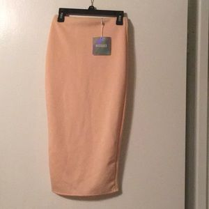 NEW Misguided Scuba Nude Midi Skirt Size 2 (US)